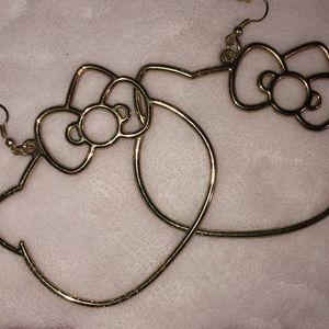 Gold hoop Hello Kitty earrings